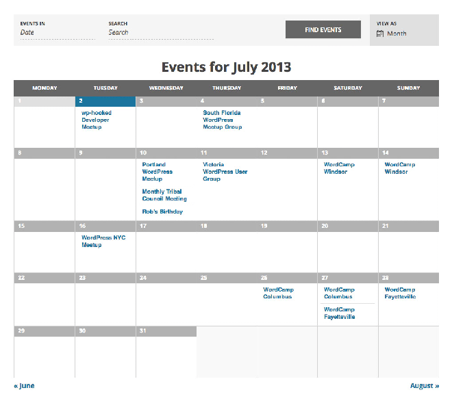 The Events Calendar vue calendrier